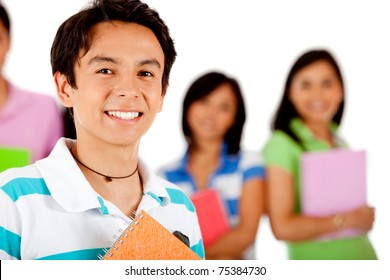 Male student smiling with a group behind her ? isolated