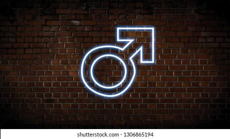 Male symbol neon sign