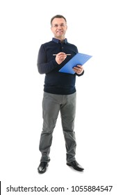 Male teacher with clipboard on white background