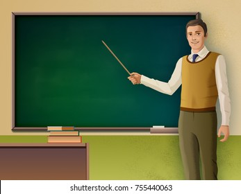 Male teacher pointing to a blackboard. Digital illustration.