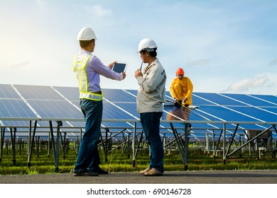 Male technician checks the maintenance of the solar panels.
