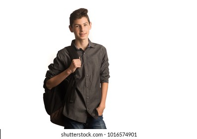 Male teen carrying backpack