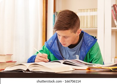 Male teenager concentrated doing homework in a desk