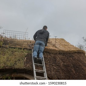 Male Thatching the Roof of a Summer House in a Country Cottage Garden at Rosemoor in Rural Devon