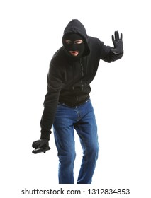 Male thief with gun on white background