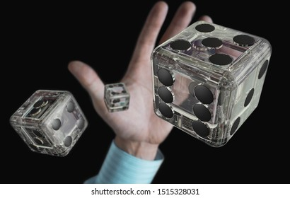 Male throws transparent dice. View from above