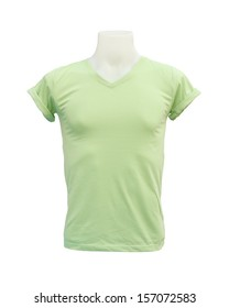 male tshirt template on the mannequin on white background (with clipping path)
