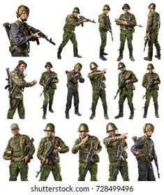 Male in uniform conforms to Russian army special forces (OMON) in War in Chechnya. shot in studio. isolated with clipping path on white background