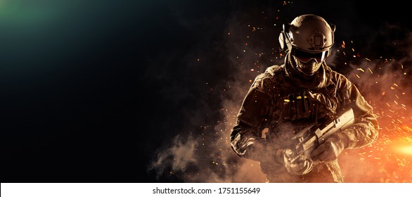 Male in uniform of Tactical Units of Police with weapon. Shot in studio. Explosion, smoke and fire sparks on a black and green background (black copy space, poster design, flip)