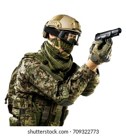 Male in uniform of Tactical Units of Police with rifle. Shot in studio. Isolated with clipping path on white background
