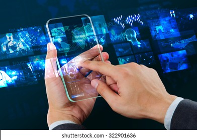 male using transparency smart phone