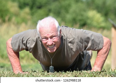Male Veteran And Muscles Exercising