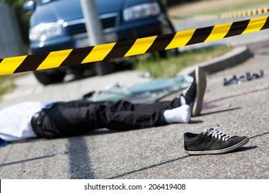 Male victim of a car accident, horizontal
