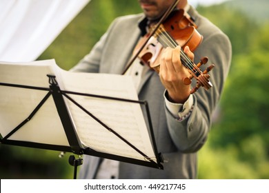 Male violinist playing his instrument and reading a music sheet during an outdoor summer wedding ceremony (shallow DOF; color toned image)
