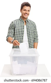 Male voter casting a vote into a ballot box isolated on white background