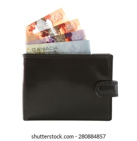 Male wallet with Canadian dollars, isolated on white