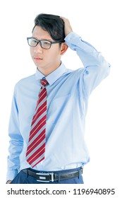 Male wearing blue shirt and red tie reaching posing in studio isolated on white background with clipping path