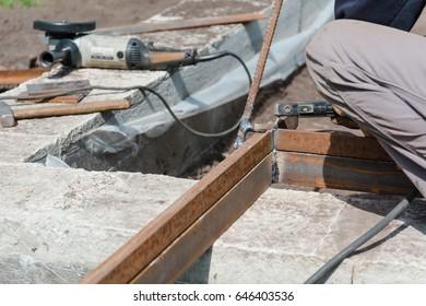 male welder. Brewing metal welding machine. Working with metal