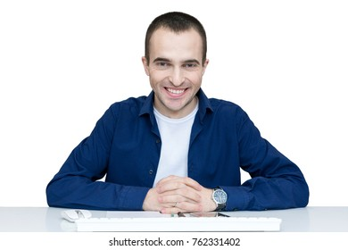 male, work in the office, smiling, front view, isolated