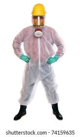 Male worker in bio-hazard suit on white background.