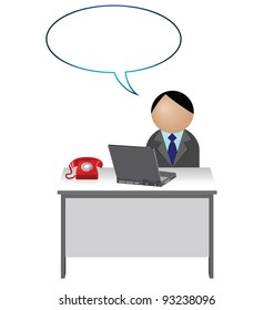 Male worker with blank speech bubble for own text
