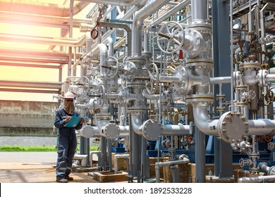 Male worker inspection visual pipeline and valve tube steam gas  pipeline