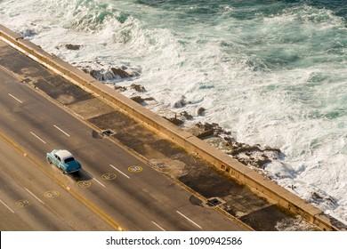 Malecon waves in Havana, Cuba