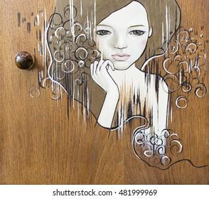 Malerei (junge Frau) auf Holz