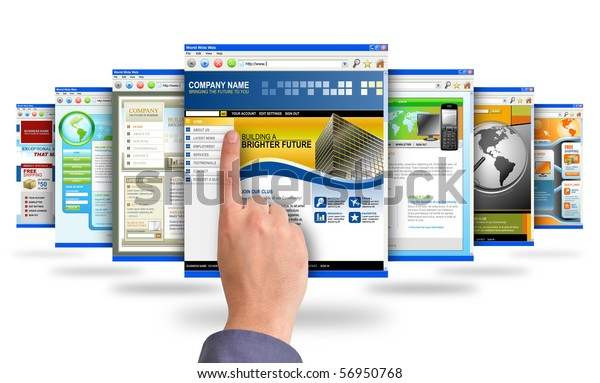 A male's finger is searching and pointing at an internet website and there are many web choices on a white background. Use it for a communication, commerce or a research concept.