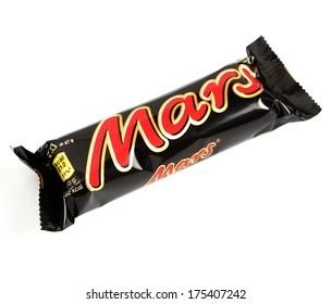 MALESICE, CZECH REPUBLIC - FEBRUARY 04, 2014: Mars bar on white background, Mars is a chocolate bar manufactured by Mars, Incorporated.