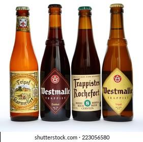 MALESICE, CZECH REPUBLIC - OCTOBER 11, 2014: Bottles of belgian beer Westmalle, Trappiste Rochefort and Tripel Karmeliet.