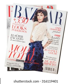 MALESICE, CZECH REPUBLIC - SEPTEMBER 13, 2015: Stack of magazines Harpers Bazaar, on top issue September 2011 with Cindy Crawford on cover on display in Malesice, Czech republic in September 2015.