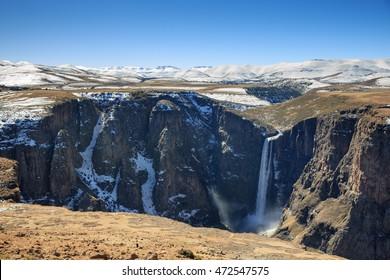 Maletsunyane waterfall during winter in, Semonkong, Lesotho.