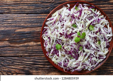 Malfouf Salad, Lebanese Cabbage Slaw, a simple cabbage salad made with lemon juice, olive oil, garlic, and mint, flatlay, view from above, close-up