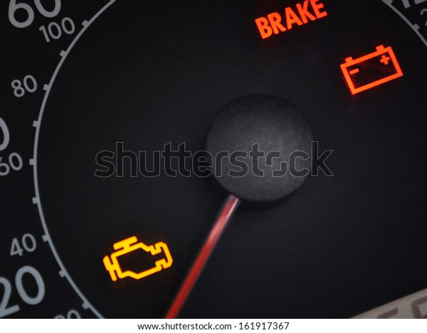 Malfunction or check engine car symbols, dashboard icon