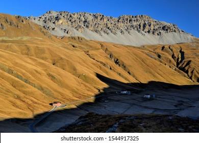Malga Stelvio and Braulio Valley at sunrise