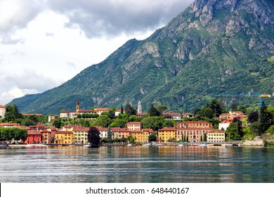 Malgrate village at Como lake, view from Lecco, Lombardy, Italy