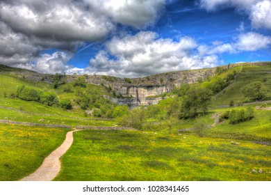 Malham Cove Yorkshire Dales UK popular tourist attraction in colourful hdr