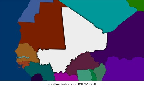 Mali Map Outline Images Stock Photos Vectors Shutterstock