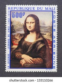 MALI - CIRCA 1969: a postage stamp printed in Mali showing an image of Mona Lisa or La Gioconda from Leonardo Da Vinci, circa 1969.