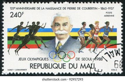MALI - CIRCA 1988: stamp printed by Mali, shows Coubertin, Ancient Greek Runners, Athletes, circa 1988