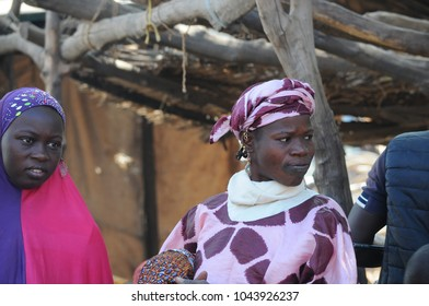 Djennè, Mali - December, 28, 2014: African woman at daily market of Djenne
