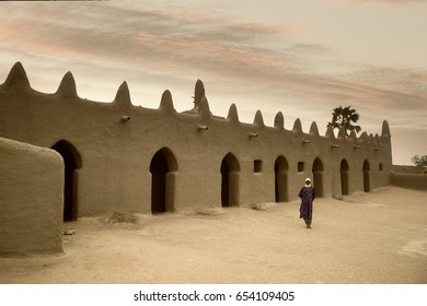 Mali, Djenne - January 25, 1992:  impressive mosques built entirely of clay in west Africa