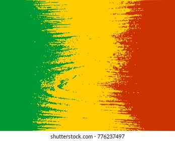 Mali flag design concept. Flag textured by grungy wood pattern. Image relative to travel and politic themes