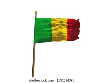Mali flag Isolated Silk waving flag of Republic of Mali made transparent fabric with wooden flagpole golden spear on white background3d illustration