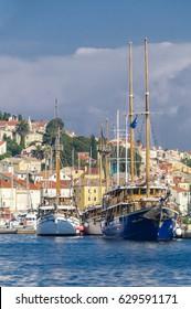 Mali Losinj, Croatia - September 14, 2016: City and harbor Mali Losinj, island of Losinj, Croatia is famous for its mild Mediterranean climate and a popular tourist destination in the Adriatic.