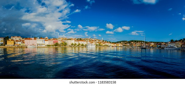 Mali Losinj, Croatia / September 7th 2017: wide panoram of Mali Losinj city in Croatia, Europe