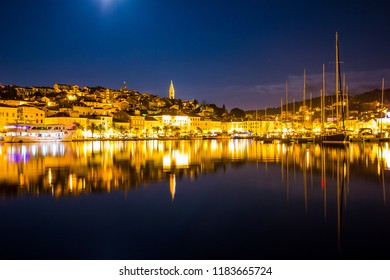 Mali Losinj, Croatia / September 7th 2017: Night view on city of Mali Losinj in Croatia, Europe