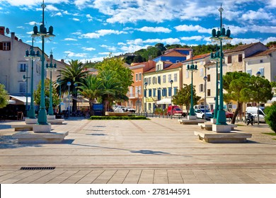 Mali Losinj square colorful architecture, Dalmatia, Croatia