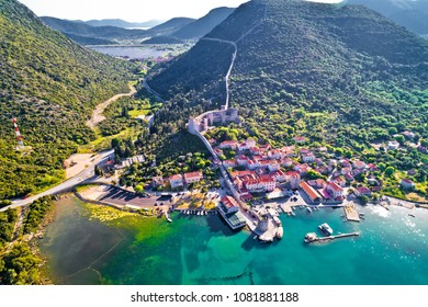 Mali Ston waterfront aerial view, Ston walls in Dalmatia region of Croatia
